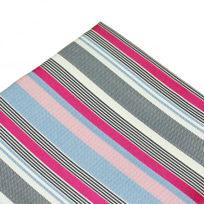 Shades Of Blue, White & Pink Striped Silk Pocket Square Handkerchief