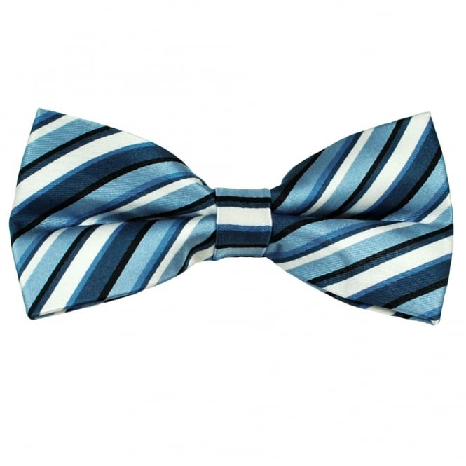 Shades of Blue & White Striped Men's Silk Bow Tie