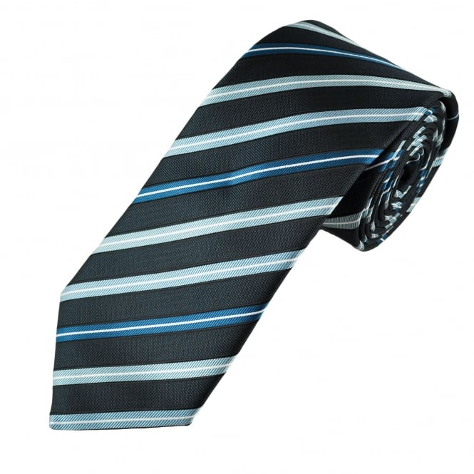 Shades of Blue & White Striped Men's Tie