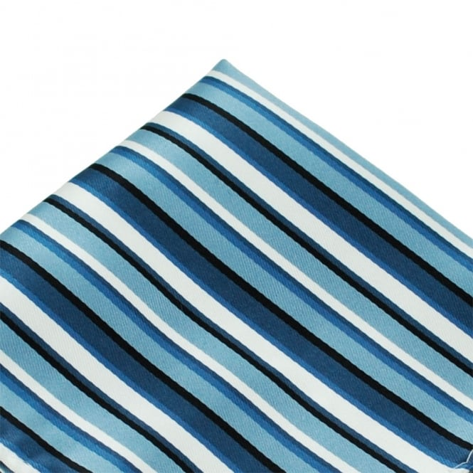 Shades of Blue & White Striped Pocket Square Handkerchief