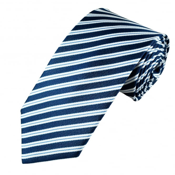 Shades of Blue & White Stripes Men's Tie