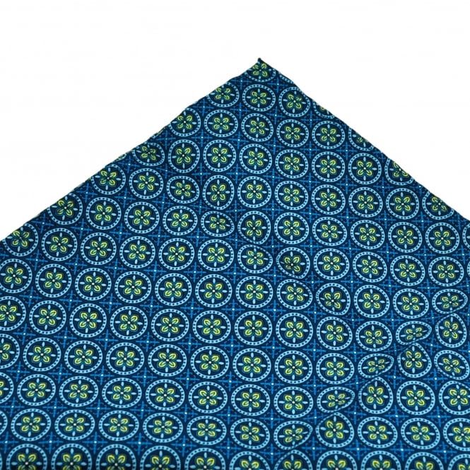 Shades Of Blue & Yellow Floral Patterned Pocket Square Handkerchief