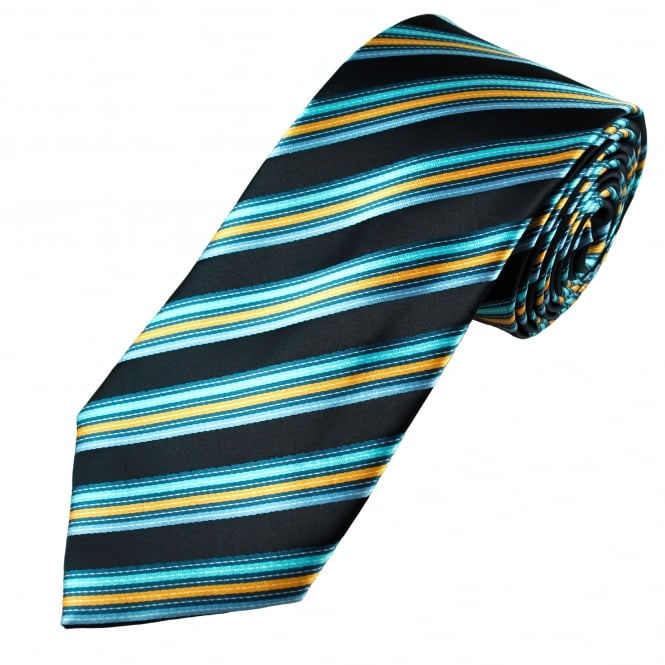 Shades of Blue & Yellow Striped Men's Tie