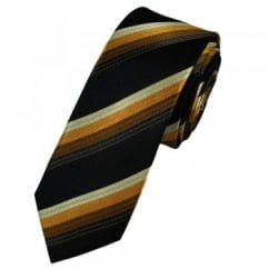 Shades of Brown & Black Striped Designer Silk Skinny Tie