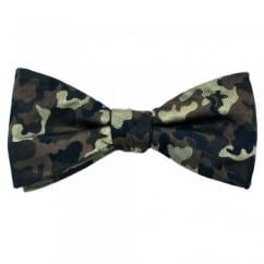 Shades of Brown & Navy Blue Camouflage Men's Silk Bow Tie