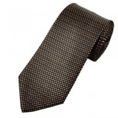 Shades of Brown, Pink & Silver Micro Checked Patterned Men's Tie