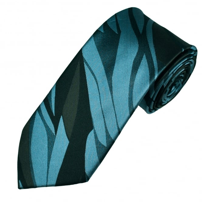 Shades Of Brown & Silver Blue Leaf Patterned Men's Silk Tie