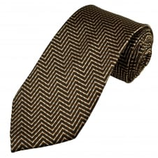 Shades Of Brown Zig Zag Patterned Men's Silk Tie