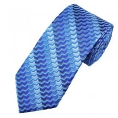 Shades of Cobalt & Blue Chevron Patterned Men's Silk Tie