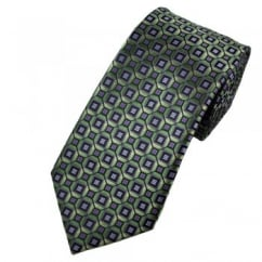 Shades of Green, Purple & Lilac Square Patterned Tie