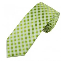 Shades of Green & Silver Checked Luxury Narrow Silk Tie