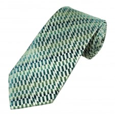 Shades of Green & Silver Patterned Men's Tie
