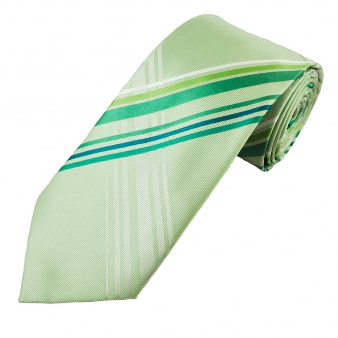 Shades of Green & White Tartan Patterned Men's Tie