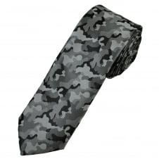 Shades Of Grey & Black Camouflage Patterned Men's Skinny Tie