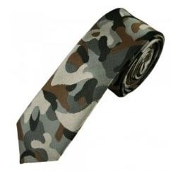 Shades of Grey & Brown Camouflage Pattern Men's Skinny Tie
