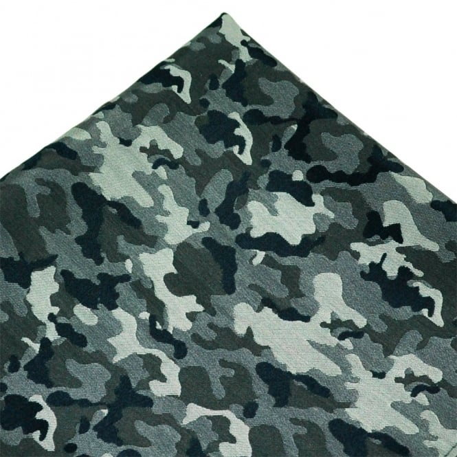 Shades of Grey & Navy Blue Camouflage Patterned Silk Pocket Square Handkerchief