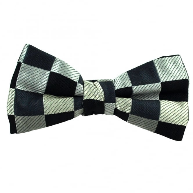 Shades of Grey Square Patterned Silk Bow Tie