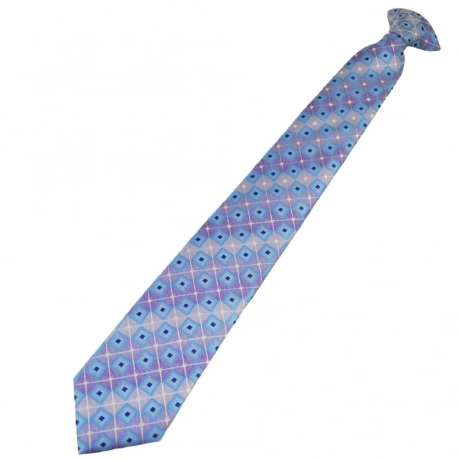 Shades of Lilac & Blue Square Patterned Clip On Tie