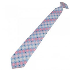 Shades of Pink & Blue Square Patterned Clip On Tie