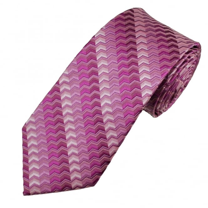 Shades of Pink Chevron Patterned Men's Silk Tie