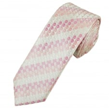 Shades of Pink, Ivory & White Diamond Pattern Men's Skinny Tie