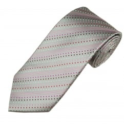 Shades Of Pink Silver Spots & Stripes Men's Silk Tie