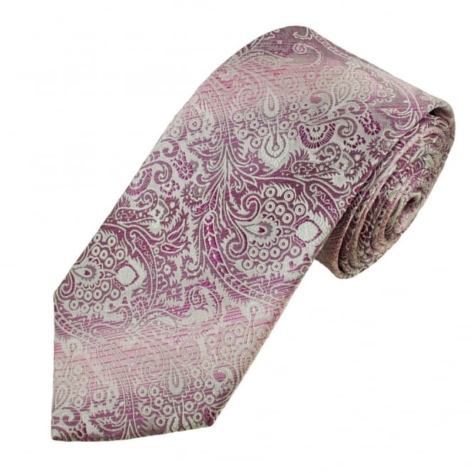 Shades of Pink & White Paisley Men's Silk Tie