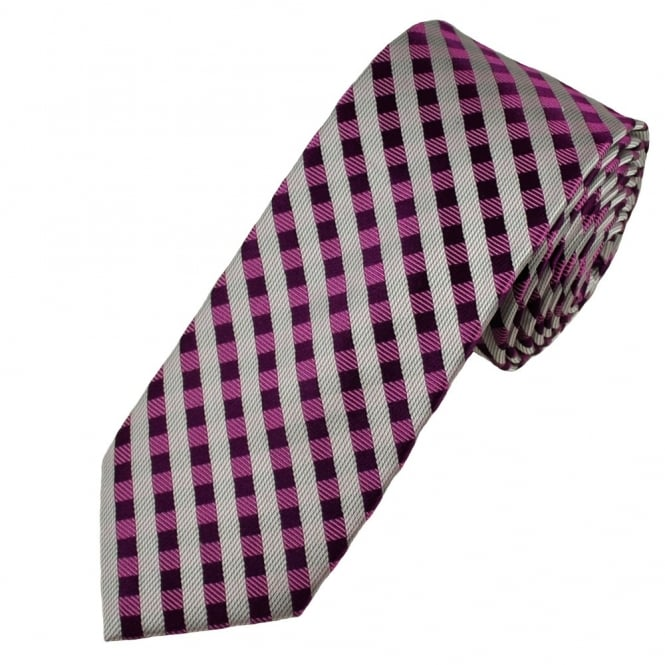 Shades of Purple & Silver Checked Luxury Narrow Silk Tie