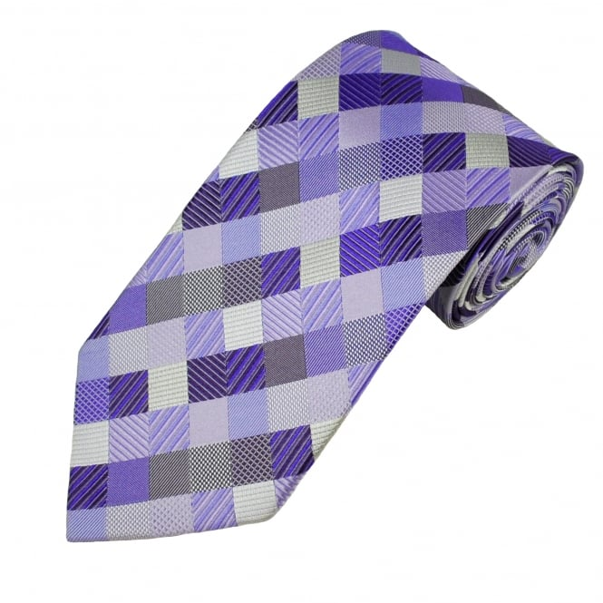 Shades Of Purple & Silver Checked Patterned Men's Silk Tie