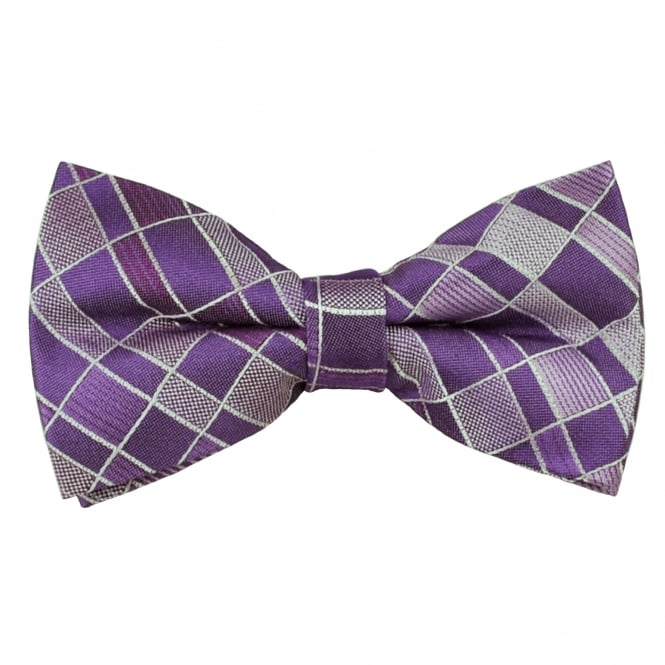 Shades of Purple & Silver Patterned Men's Bow Tie