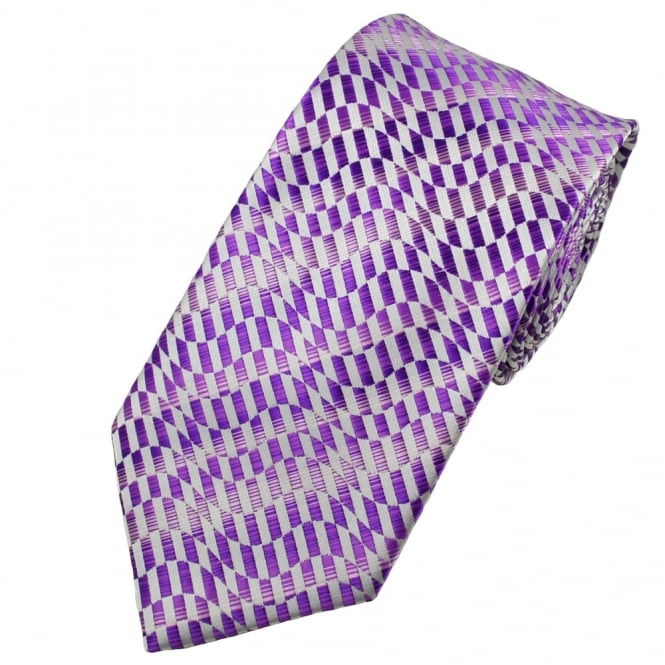 Shades of Purple & Silver Patterned Men's Tie