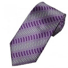 Shades of Purple & Silver Spots & Waves Tie