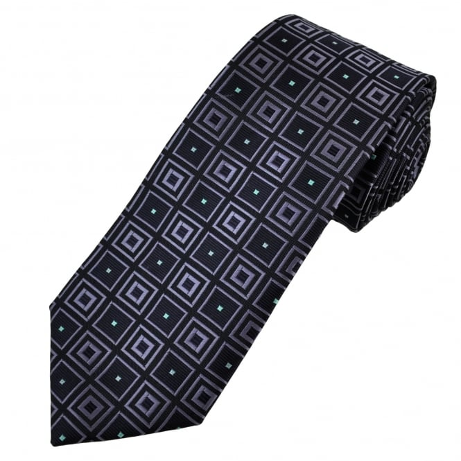 Shades of Purple & Turquoise Square Patterned Men's Tie