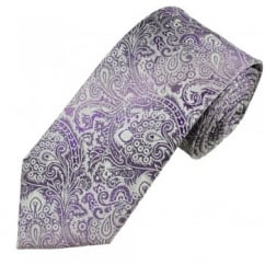 Shades of Purple & White Paisley Men's Silk Tie