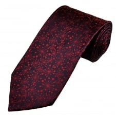 Shades Of Red Paint Splatter Patterned Men's Silk Tie