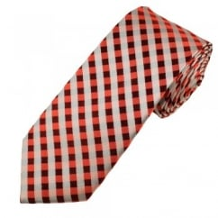 Shades of Red & Silver Checked Luxury Narrow Silk Tie