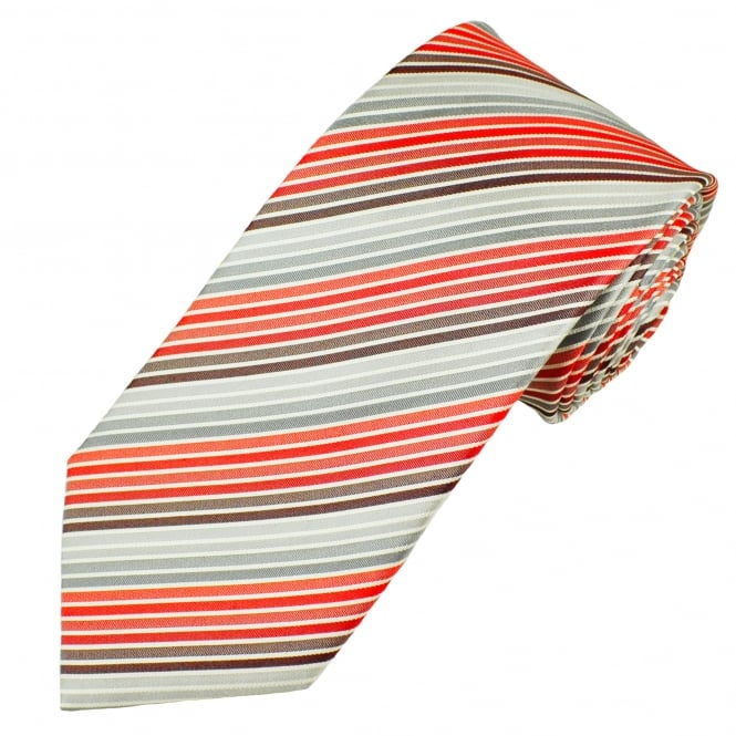 Shades Of Red, Silver & White Striped Men's Silk Tie