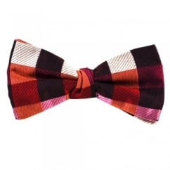 Shades of Red Square Patterned Silk Bow Tie