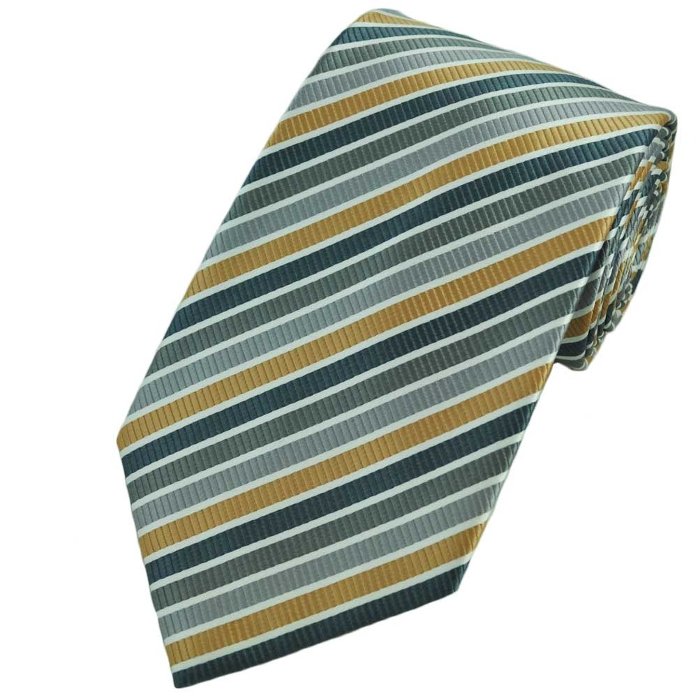 and striped gold tie white
