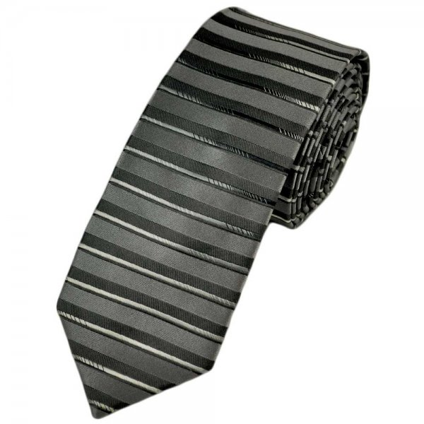 shades of silver horizontal striped silk tie from