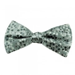 Shades of Silver Polka Dot Patterned Silk Bow Tie