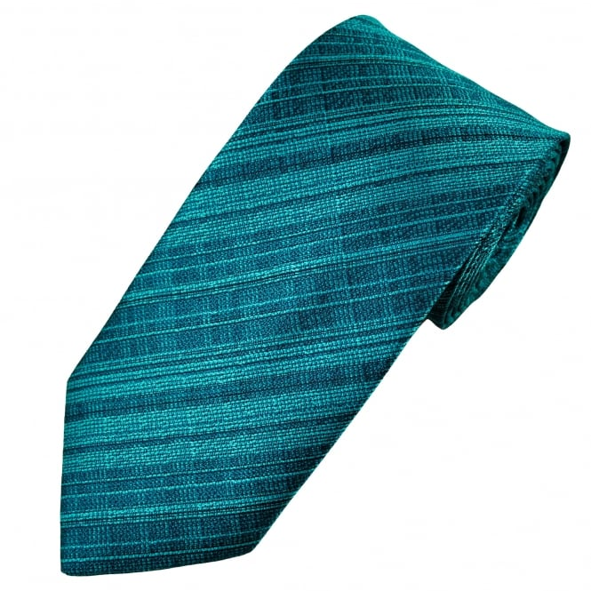 Shades of Teal Stripe Patterned Men's Tie