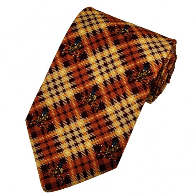 Show Jumping Beige & Orange Checked Silk Novelty Tie