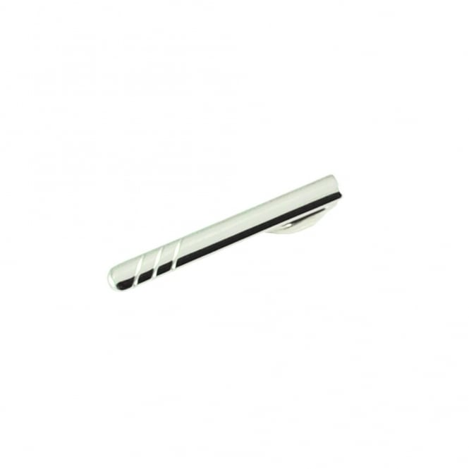 Silver 3 Stripes Skinny Tie Bar