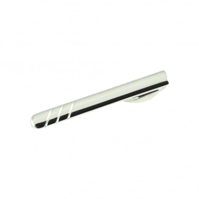 Silver 3 Stripes Skinny Tie Slide