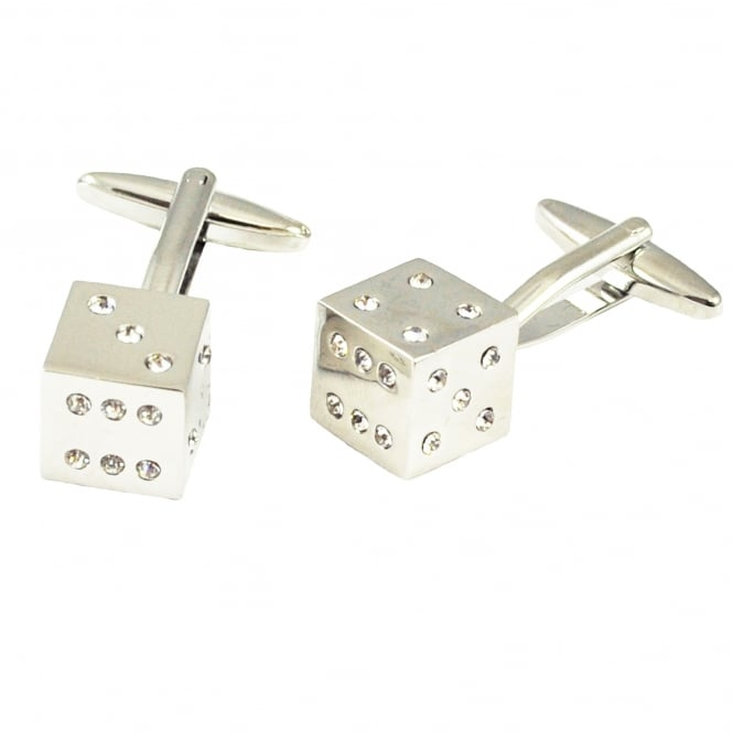Silver 3D Dice with Crystals Luxury Cufflinks