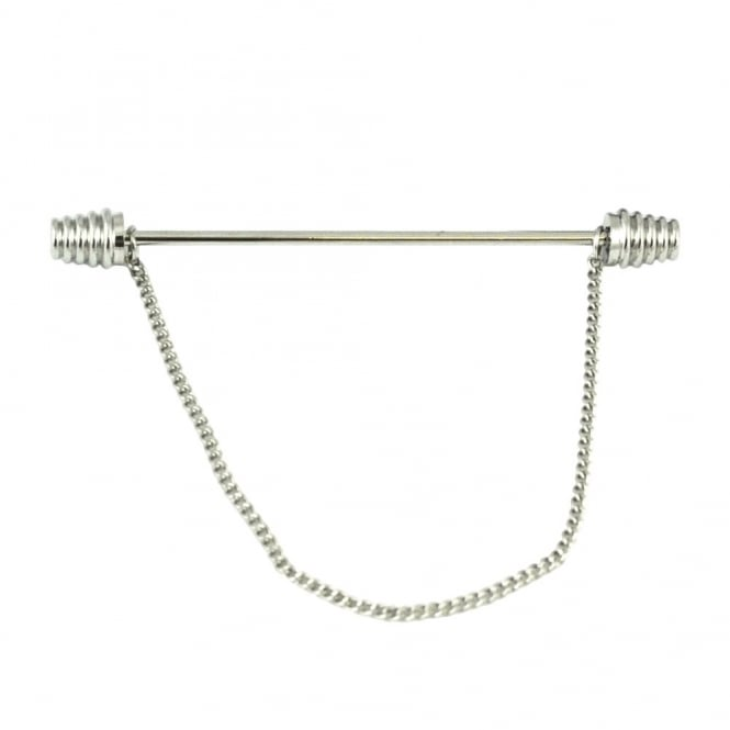 Silver Barbells Collar Bar Pin with Chain