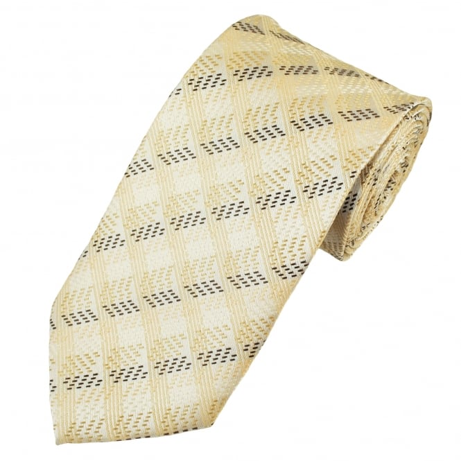 Silver, Beige & Brown Patterned Men's Extra Long Tie