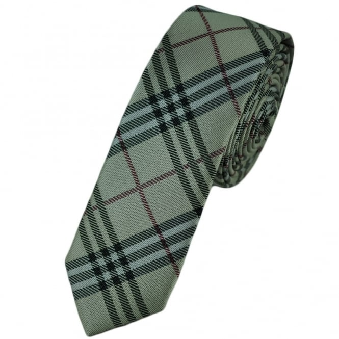 Silver-Beige with Black & Red Check Skinny Tie