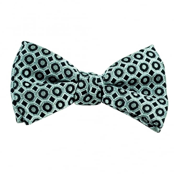Silver & Black Patterned Silk Bow Tie